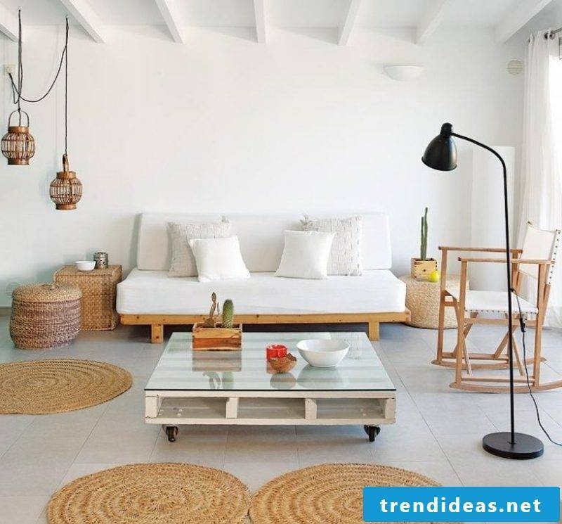 Pallet sofa as an accent in the living room Scandinavian style