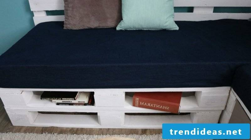 Pallet sofa painted white drawers
