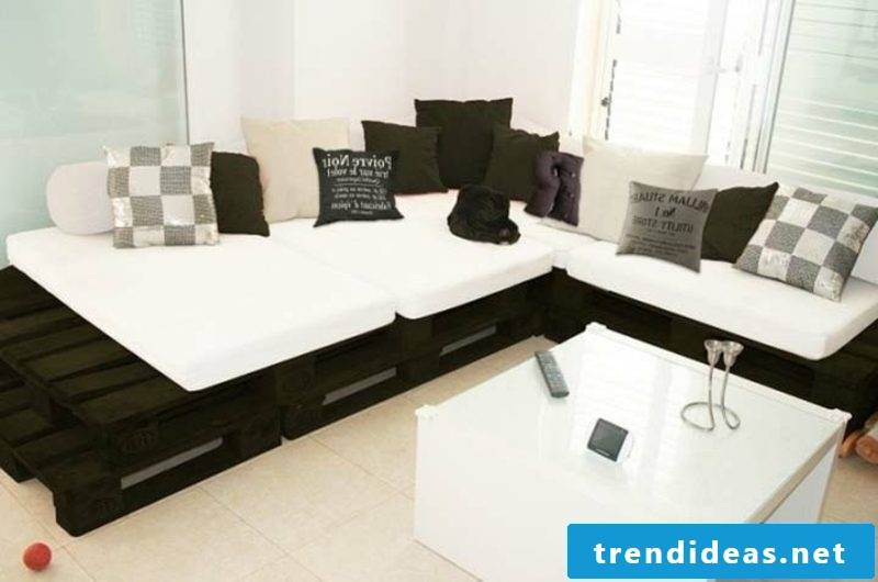 modern palette sofa painted black