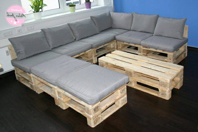 long pallet sofa with gray upholstery