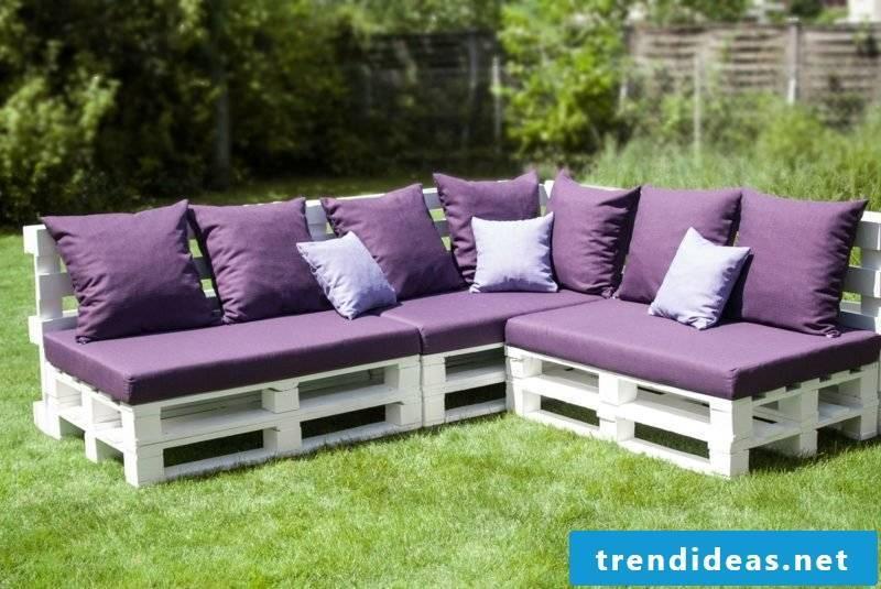 Pallet sofa originally painted white
