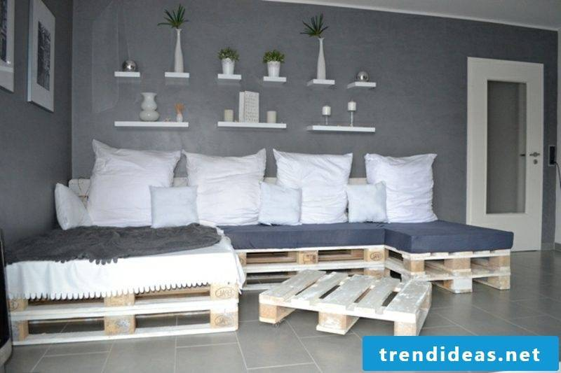 Sofa made of Euro pallets soft cushion upholstery